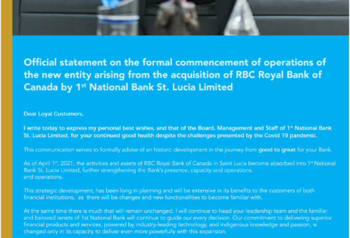 1st National Bank St. Lucia Limited Acquires Royal Bank of Canada (RBC) Local Operations